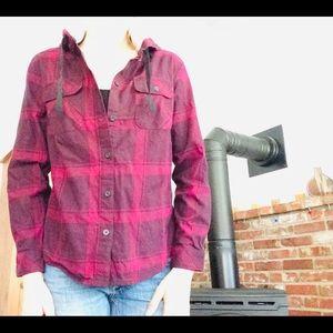 Purple Hooded Plaid Shirt S